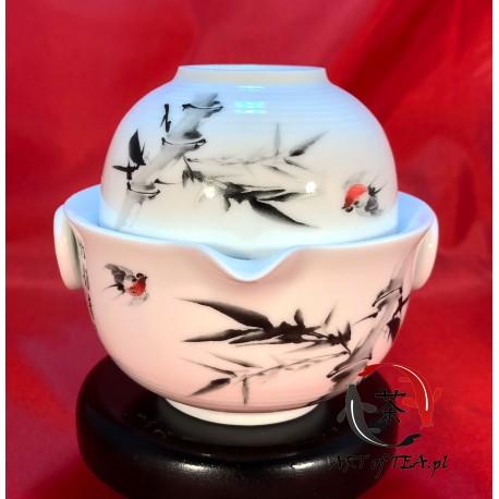Jednoosobowy zestaw do parzenia herbaty (ptaki, bambus)