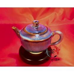 Gliniany polewany czajniczek (niebieski)