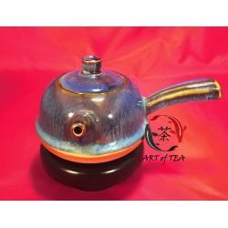 Gliniany polewany czajniczek (niebieski) (boczny uchwyt)